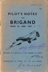 A.P. 2575 C & B Pilot's Notes Brigand B1 and Met3