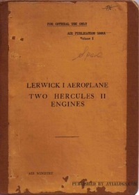A.P. 1666A Lerwick I Aeroplane - Two Hercules II engines