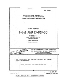 T.O. 1F-86F-4 Technical Manual Illustrated Parts Breakdown F-86F and RF-86F-30