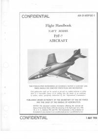 AN 01-85FGE-1 Flight Handbook Navy Model F9F-7 Aircraft