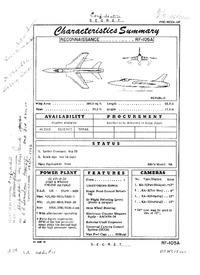 RF-105A Thunderchief Characteristics Summary - 22 March 1954
