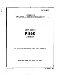 T.O. 1F-86K-3 Handbook Structural Repair Instructions F-86K