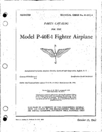 T.O. 01-25CJ-4 parts Catalog for the Model P-40E-1 Fighter Airplane