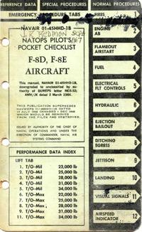 Navair 01-45HHD-1B Natops Pilot's Pocket Check list F8D, F8E