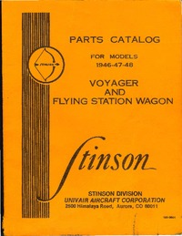 4285 Parts Catalog for Stinson models 1946-47-48 Voyager and Flying Station Wagon